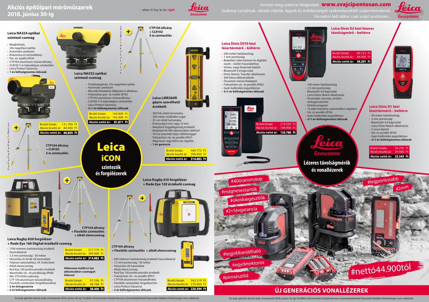 Leica szintezőműszerek akciós szórólapja