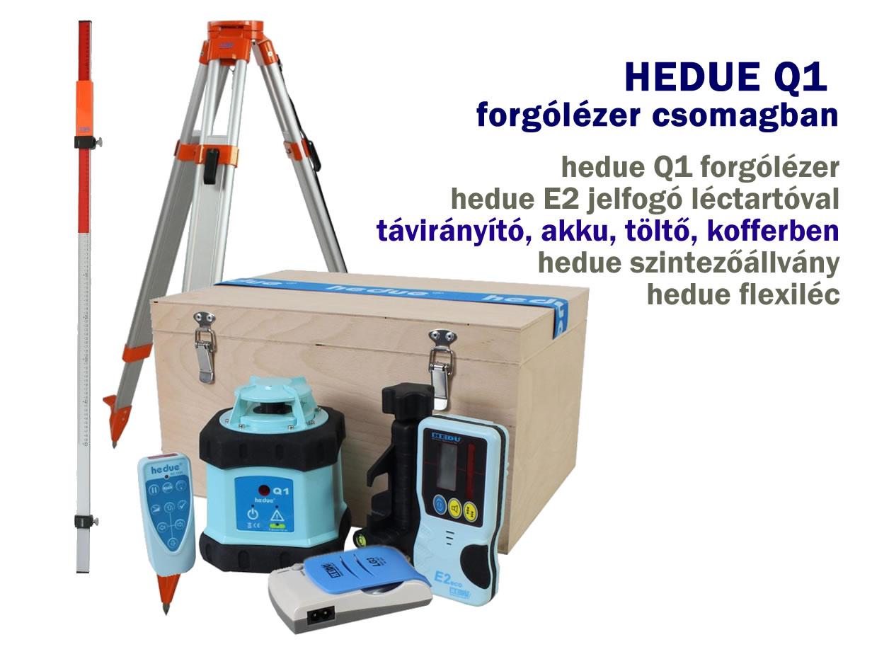 hedue Q1 forgólézer állvánnyal és szintezőléccel